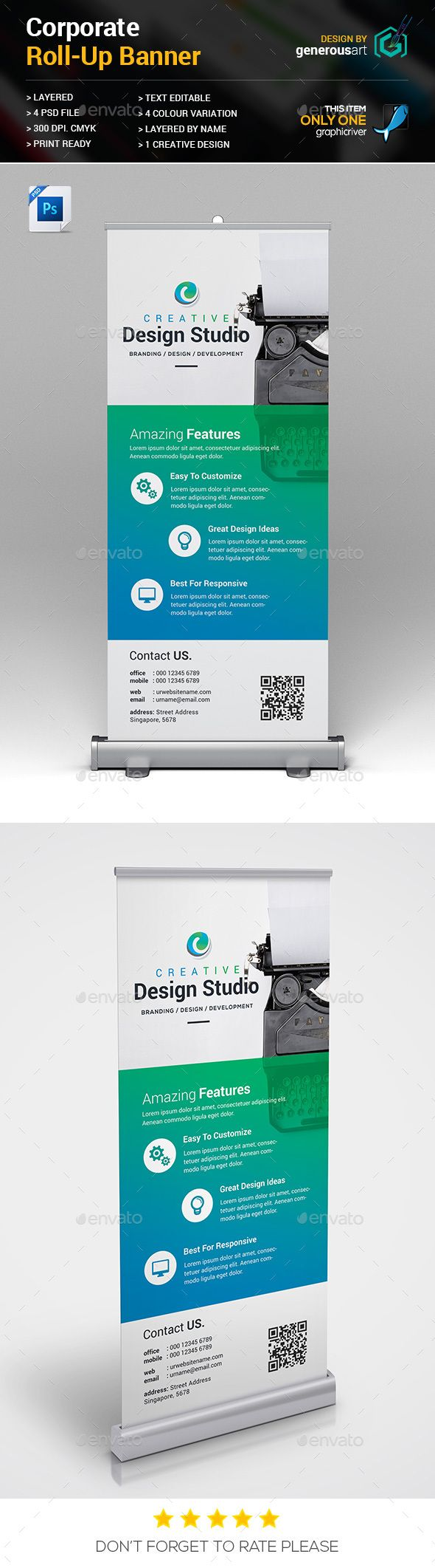 RollUp Banner — PSD Template #web #professional • Download ➝ https://graphicriver.net/item/rollup-banner/18314384?ref=pxcr