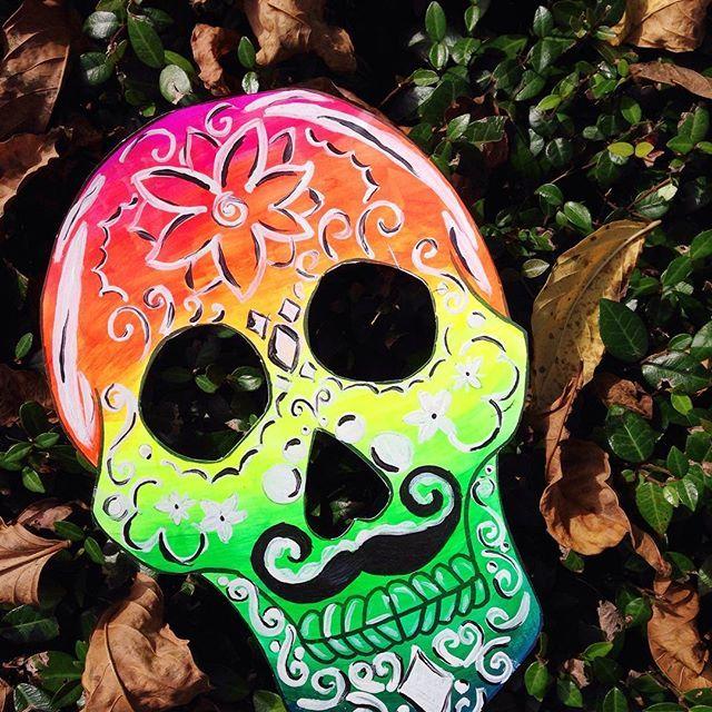 Art by Annie Norris: Día de los Muertos meets No Shave November #noshavenovember #acrylic #make #create #mustache #diadelosmuertos #dayofthedead