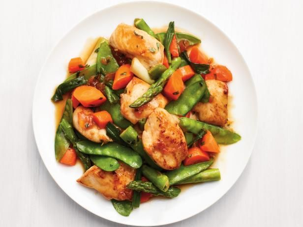 Get Apricot-Glazed Chicken with Spring Vegetables Recipe from Food Network
