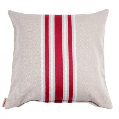 Bold stripe pattern of red and white on a beige tone 100% cotton pillow with hidden zipper for insert.