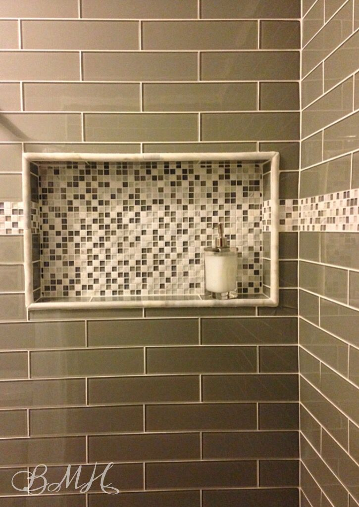 Gl Subway Tile Shower Mosaic Stone Built In Shampoo Niche Shelf Inset Border Bmh 2018 Pinterest Bathroom Tiles And