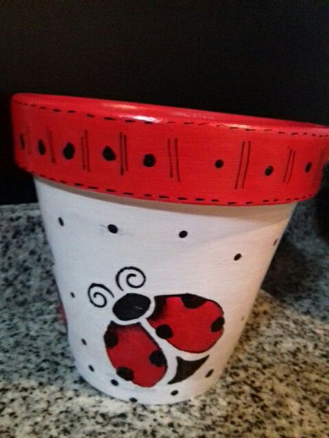 Lady bug flower pot