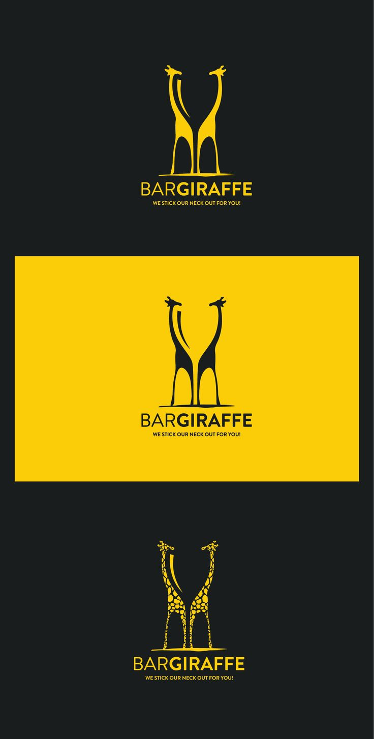 Negative space logo design by Point.0 showing two giraffes, but in a negative space is glass. #minimal #logo #branding