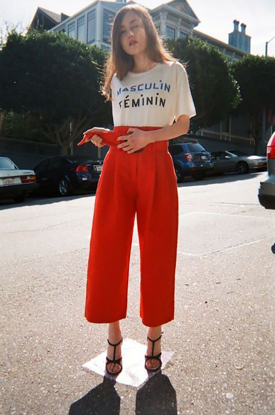 Like: bright culottes and casual tee, with heels. Fancy-Cas in balance.