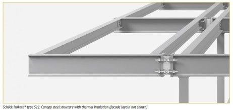 Exterior Steel Beams that Break Thermal Bridging