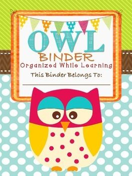 Owl themed student take home binder! Great Resource for Parent communication!