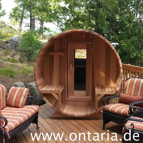 Barrel Sauna H180xL180cm with Porch for 4 People Starter Cedar Barrel Sauna Package for 4 people with porch: great optical appeal, keeps your stuff dry and offers a perch for a drink after the sweat. Like the sauna from Clear Western Red Cedar.