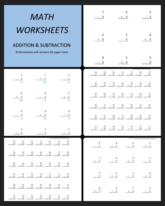 Math Worksheets Addition Subtraction 30 Worksheets With Etsy Subtraction Worksheets Math Worksheets Printable Math Worksheets Subtraction worksheets grade pdf