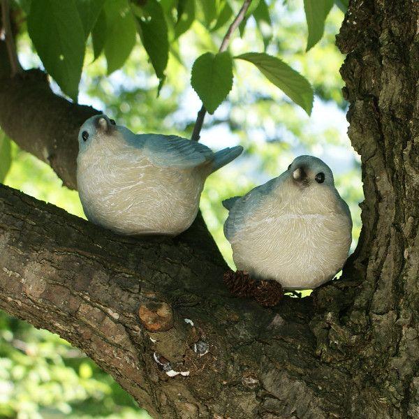 水色の小鳥 2匹セット (置物 オーナメント 庭 かわいい 鳥 野鳥 動物 オブジェ ガーデニング 飾り)|niwazakka