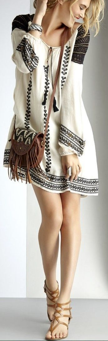 New Embroidered loose flowy long sleeve dress. Leather cross shoulder Bag. Leather sandals.