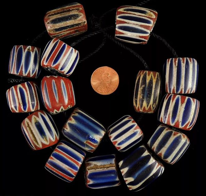Vintage / antique Venetian glass beads. *trade beads bead collection wedding cake beads millefiori chevrons