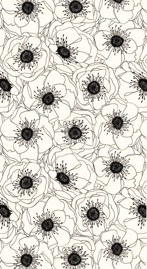 retro red White Anemones pattysloniger black     White and   and Anemones Spoonflower Anemone