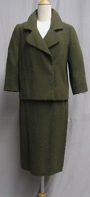 #18006, 1950's Sybil Connolly Dublin Couture Green Knubby Wool Suit