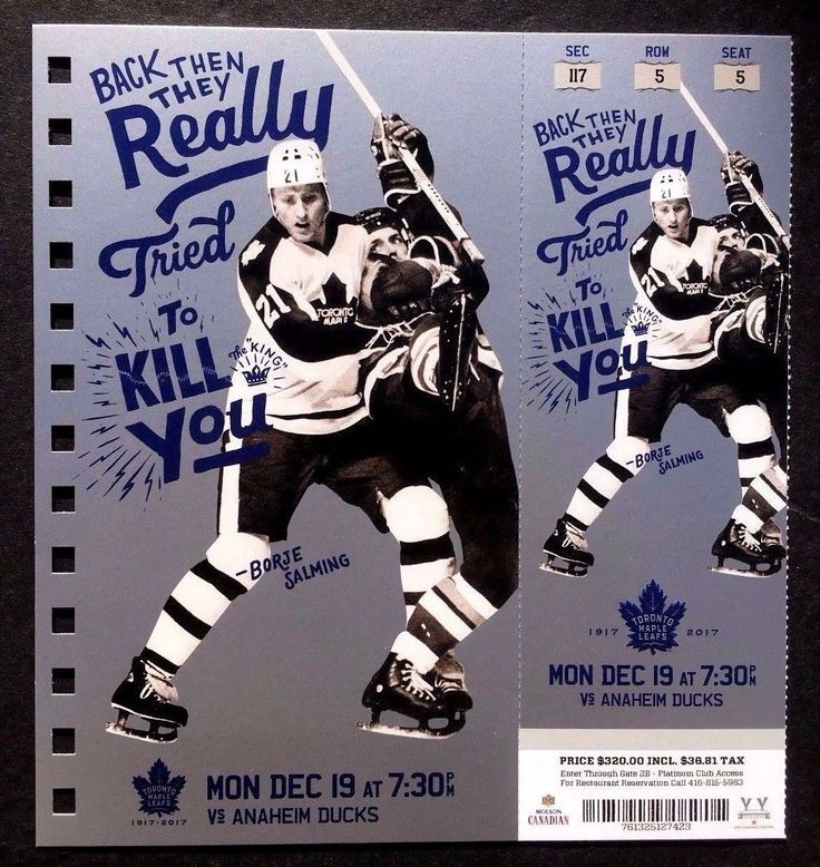 2016-17 Toronto Maple Leafs vs Anaheim Ducks Borje Salming Featured Ticket | eBay