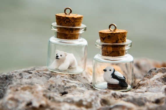 Tiny bottle with baby polar bear / frog / bird by fanoulala