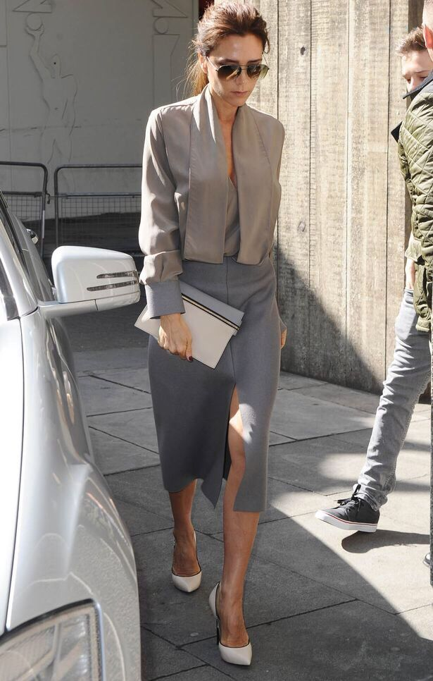 mushroom hues. Vics looking fab in London. #VictoriaBeckham
