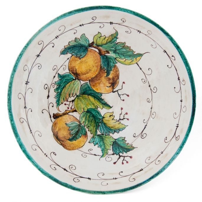 Plate #1 Apples by Ceramiche Mannini Decorative plate made of ceramic, painted by hand on enamel and finished with a thin patina.