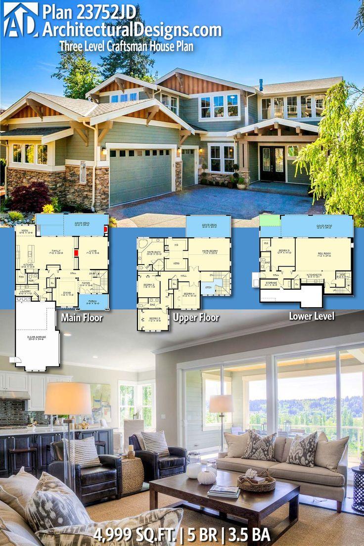 Plan 23752JD Three Level Craftsman House Plan