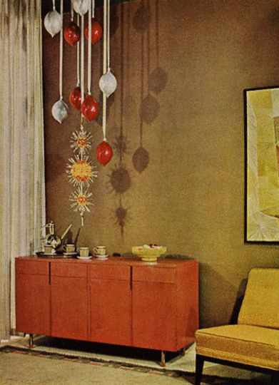 Retro Christmas, hanging ornaments from the ceiling with ribbons. #christmas #decor