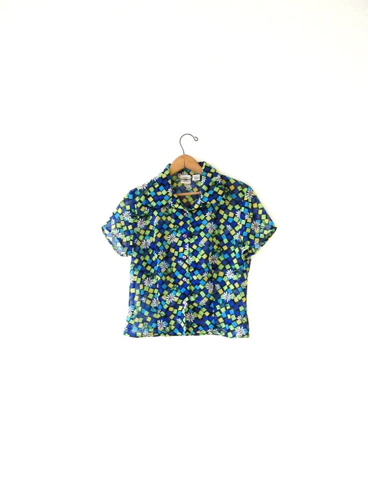 Wms Vintage 1990s County Seat Sheer Daisy Grunge Button Down Blouse Sz S/M by FreshtoDeathVintage on Etsy
