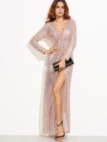 Kleid Pailletten tiefer V-Ausschnitt mit hohem Schlitz