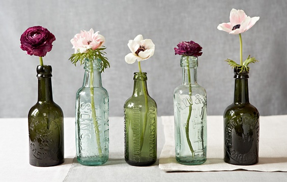 bottles with a single flower make great decorative display