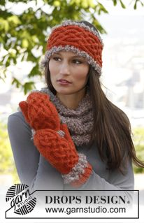 "Set consist of: Knitted DROPS mittens and head band with cables in ""Nepal"" and crochet edges in ""Puddel"" and knitted neck warmer in ""Puddel"". ~ DROPS Design"