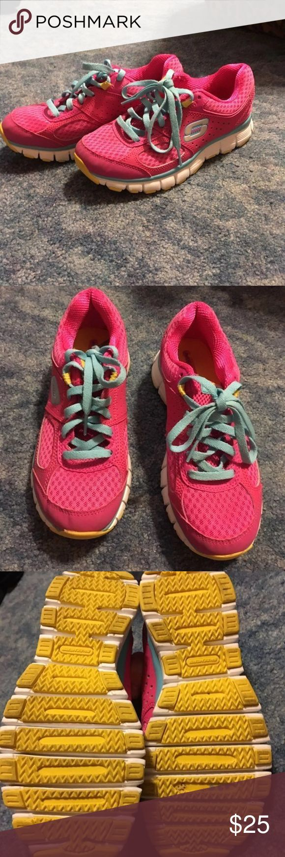 Sketchers Sneakers Worn once. Lightweight. Cute bright colors! Very comfortable! Sketchers Shoes Athletic Shoes