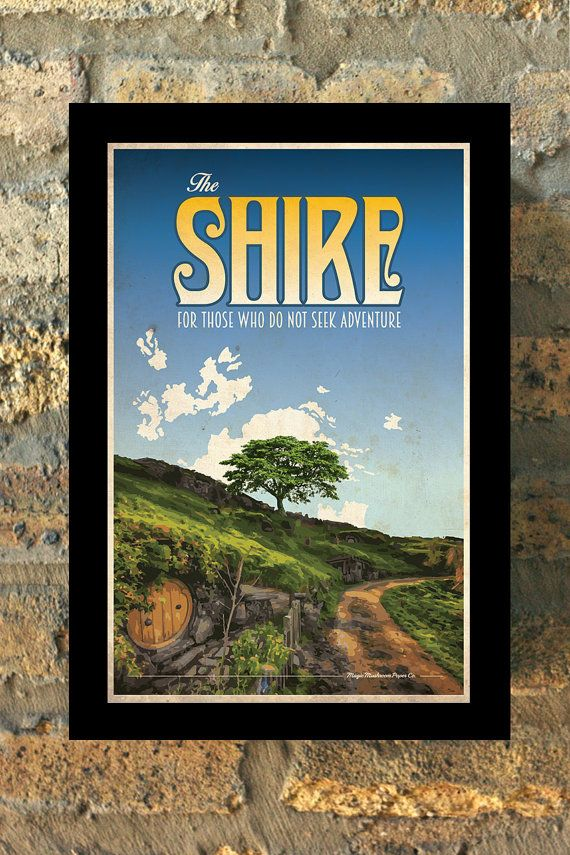 THE SHIRE Lord of the Rings Hobbit Travel Poster by MMPaperCo
