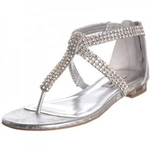 Elegant Formal Flat Sandals For Wedding | Diamante Flat Sandals