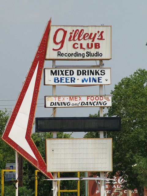 The original sign for Gilley's Club in Pasadena,TX - Urban Cowboy was filmed at Gilley's.