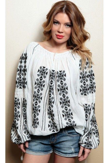 Romanian blouse, WOW !! Ie Traditionala Romaneasca Maneca Lunga Motivul Punct In Cruce