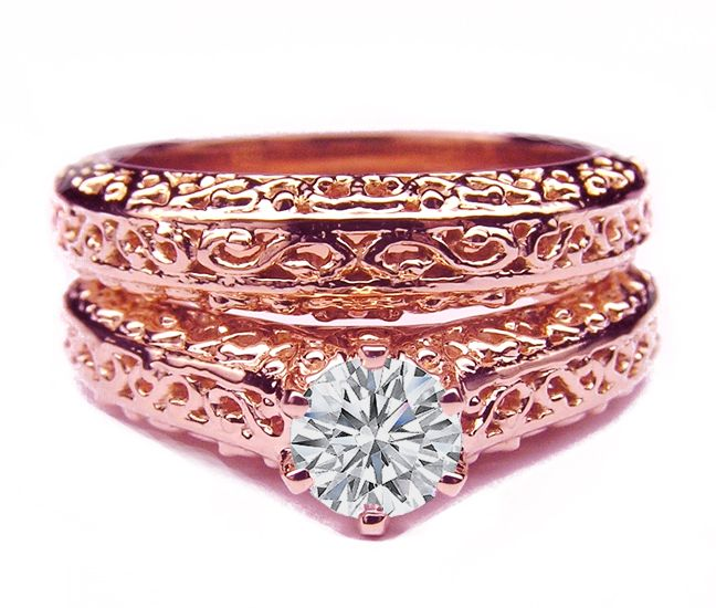 Filigree Round Diamond Heirloom Engagement Ring pink gold THIS IS AWESOME!!