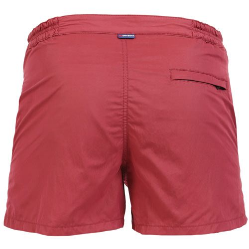 HARRIS SWIM SHORTS COLOR BURGUNDYSolid burgundy HARRYS Swim Shorts. Two side pockets. Small front pocket with Saint Barth embroidery on the flap, and concealed snap button. Zippered back pocket. MC2 Saint Barth brand patch on waist to the reverse. Zipper and magnetic closure with interior button. Semi-elastic waistband with elastic inserts at lateral side. Interior brief. COMPOSITION: 50% POLYESTER 50% NYLON. Model wears size M, he is 189 cm tall and weighs 86 Kg.