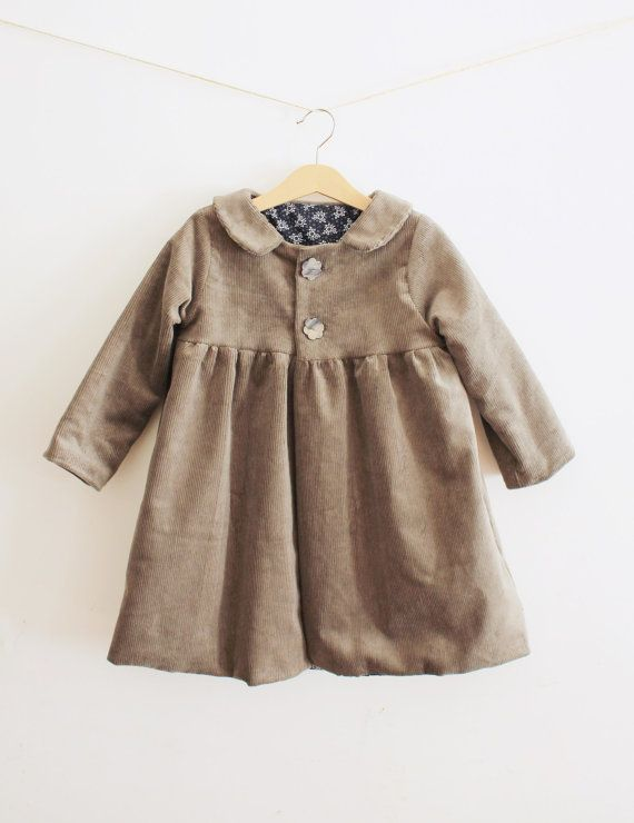 Girl coat children jacket grey taupe velour fully by Lenuvole