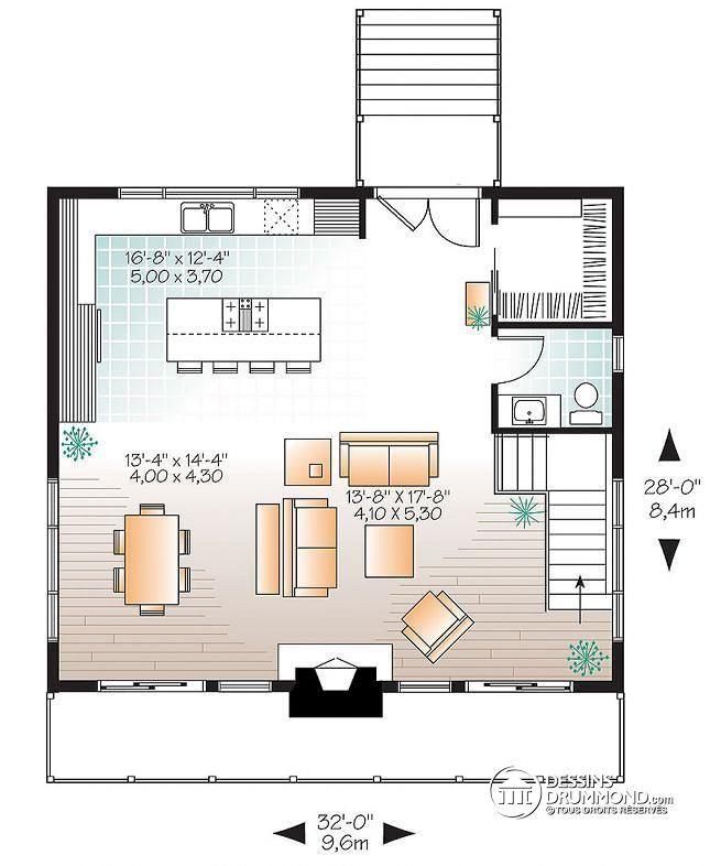 Plan de Rez-de-chaussée Chalet de ski Scandinave Rustique à 3 chambres, deux salles familiales, rangement skis & planches  - Dahilia