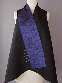 Draped Collar Vest Blue and Black Juanita Girardin