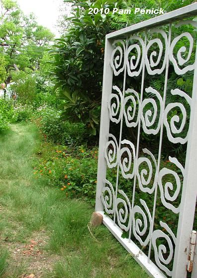 Spiral Design, Metal Gate. Gardens On Tour 2010: Sinclair Avenue Garden    Digging