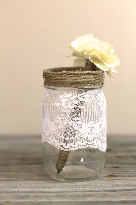Lace Guest Book Pen Holder Mason Jar Rustic by ThePaperWalrus