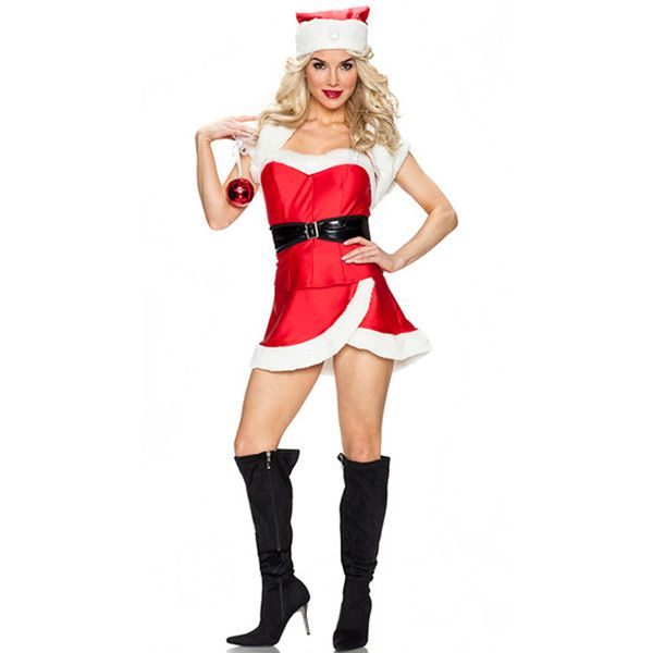Womens Christmas Wrap Skirt Belt Tube Santa Costume ($21) ❤ liked on Polyvore featuring costumes, red, christmas costumes, sexy costumes, ladies santa costumes, sexy women halloween costumes and womens santa costume