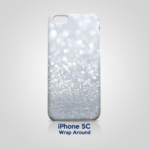 Grey Sparkle Glitter iPhone 5C Case Cover Wrap Around