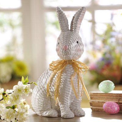 Wicker Easter Bunny Statue