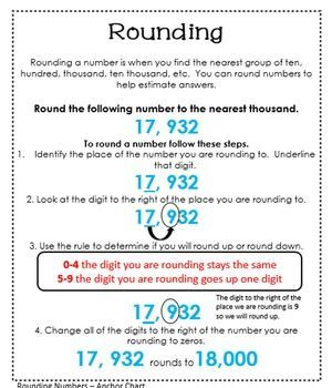 Rounding Anchor Chart. Use this anchor chart to help teach rounding to your students. Download the entire Interactive Math Journal for place value for extension activities, quick checks and foldables to support your math instruction.