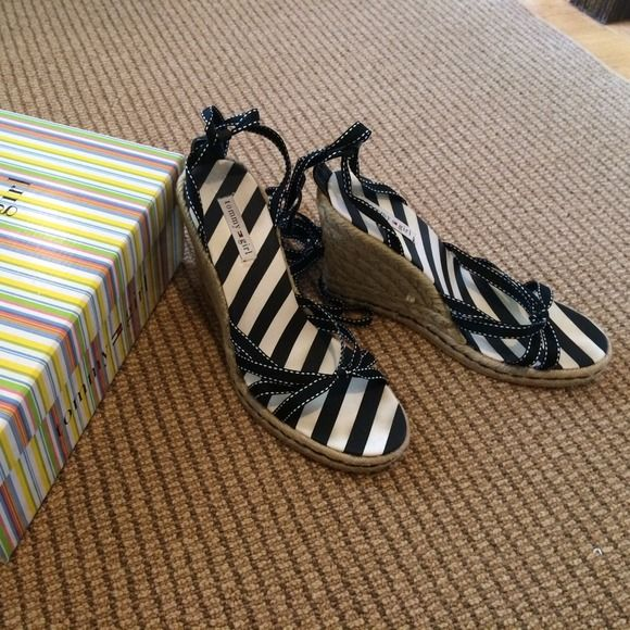 Black ribbon wedge sandals Tommy Girl black ribbon wedges. Lace up ankle and look SUPER cute on!! Never worn!!! Comes in original box! Tommy Hilfiger Shoes Sandals