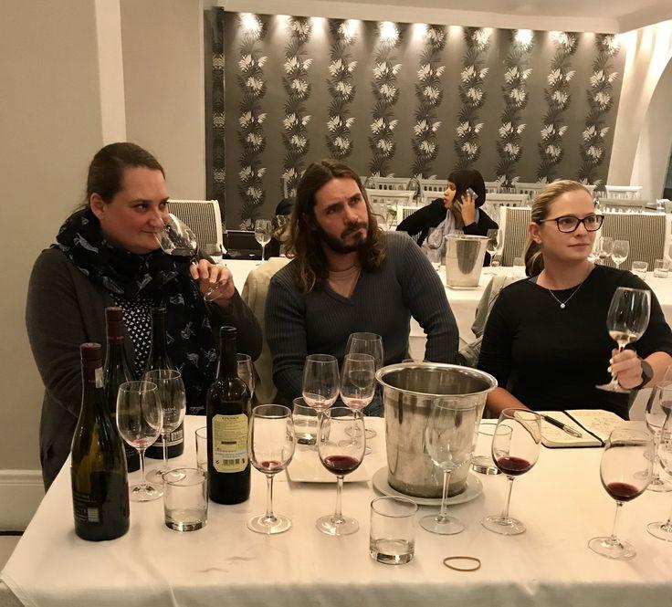 Hermanus FynArts WinePlus series at The Marine Hotel Hermanus. Ulla from Wine Village tasting some Pinotage.