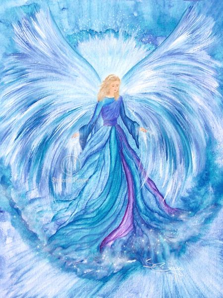 Beautiful blue, purple and white angel in what looks like watercolor painting by Erzengel Haniel ~ღ~ Engelbild. Please also visit www.JustForYouPropheticArt.com for more colorful art you might like to pin. Thanks for looking!