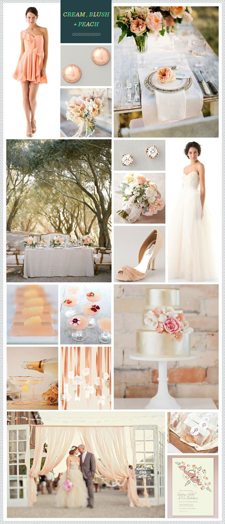 Cream, Blush + Peach wedding inspiration is the perfect blend of soft hues and modern romance. Imagine your big day beneath a canopy of trees with vintage place settings, an elegant gold cake, and of course, a killer dress!  Whoever said subtle shades don't make a big impact?