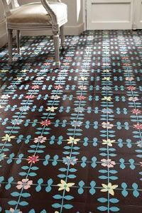Funky repeat on this vinyl flooring.  Could be a fun way to introduce color and movement.