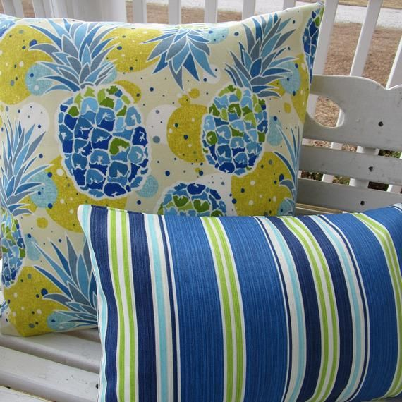 Blue Green Outdoor Pillow Cover Pineapple Stripe Decorative Etsy Green Outdoor Pillows Outdoor Pillow Covers Outdoor Pillows