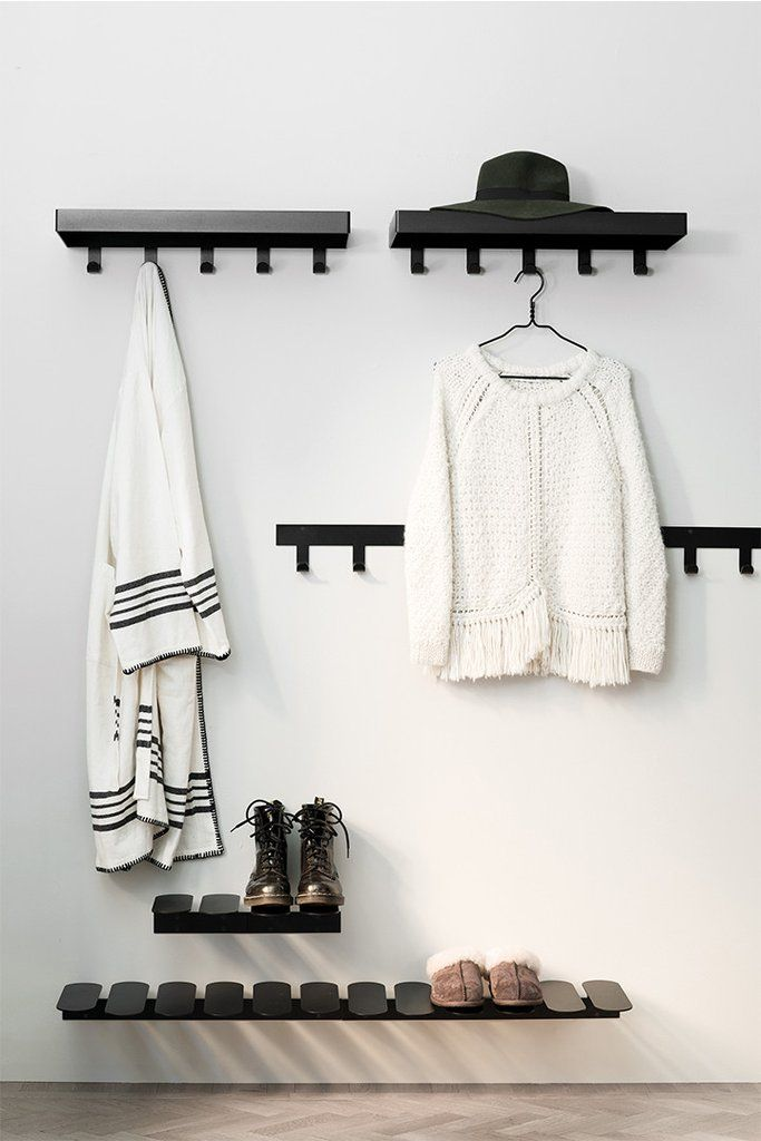No Hat gives the impression of being a classic hat rack, but actually there is more. With it's smart design it actually gives more space than it takes. Apart from the actual shelf , there is also a couple of sleek hooks underneath where you can hang your coat and umbrella..  #hallway #mazeinterior #scandinaviandesign